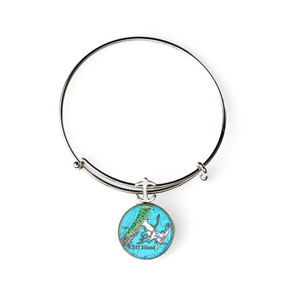 Cliff Island Expandable Bracelet with Anchor Charm