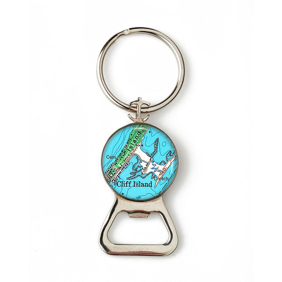 Cliff Island Combination Bottle Opener With Key Ring
