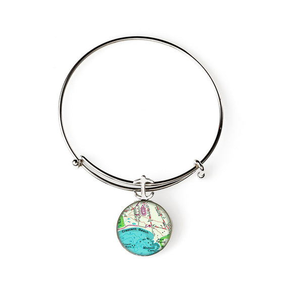 Crescent Beach 1 Expandable Bracelet with Anchor Charm