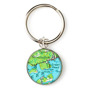 Deer Isle Stonington Green Head Anchor Key Ring
