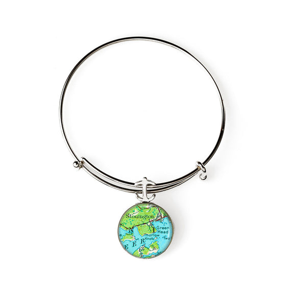 Deer Isle Stonington Green Head Expandable Bracelet with Anchor Charm