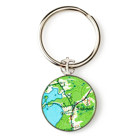 Deer Isle Sunset Anchor Key Ring