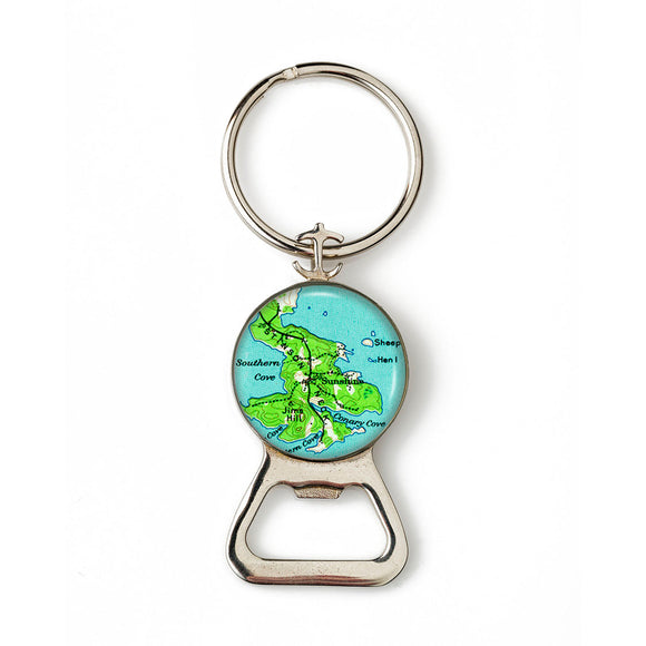 Deer Isle Sunshine Anchor Combination Bottle Opener with Key Ring