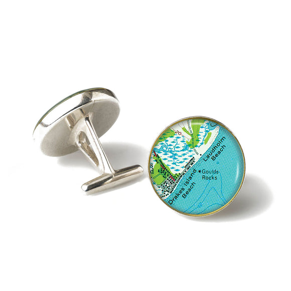 Drakes Beach Laudholm Beach Anchor Cufflinks
