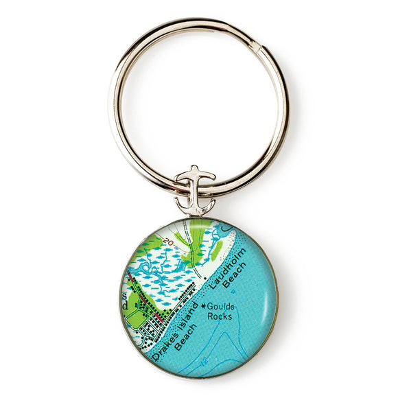Drakes Beach Laudholm Beach Anchor Key Ring