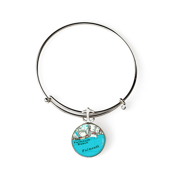 Falmouth Beach Expandable Bracelet with Anchor Charm