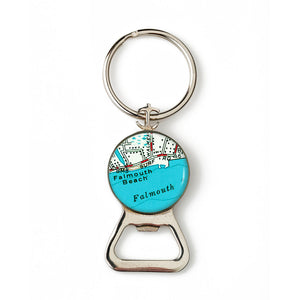 Falmouth Beach Combination Bottle Opener with Key Ring