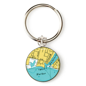 Falmouth Harbor Lighthouse Anchor Key Ring