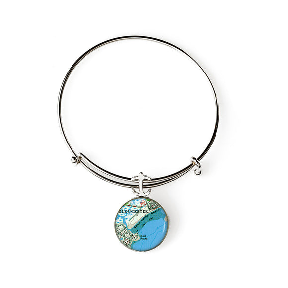 Gloucester Good Harbor Beach Expandable Bracelet with Anchor Charm