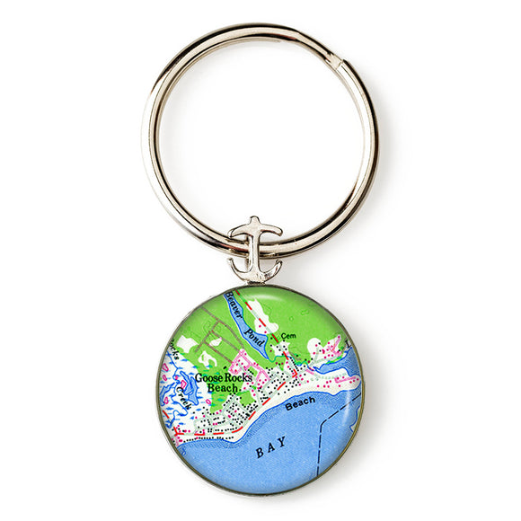 Goose Rocks Beach 3 Anchor Key Ring