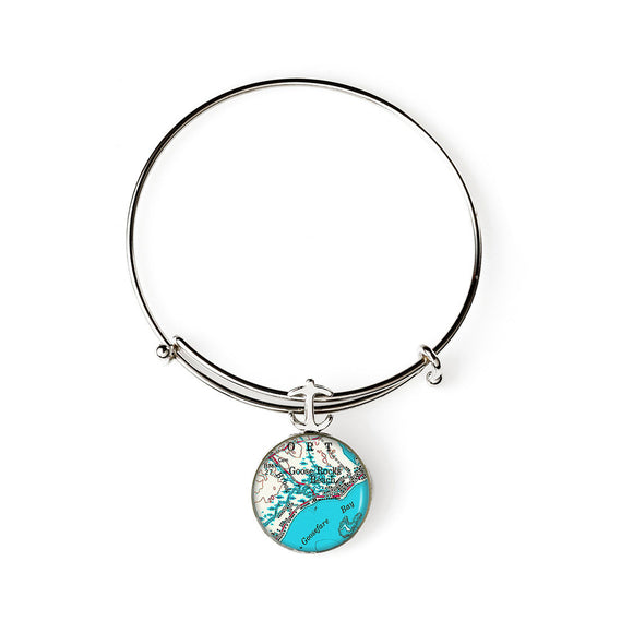 Goose Rocks Beach 4 Anchor Expandable Bracelet with Anchor Charm