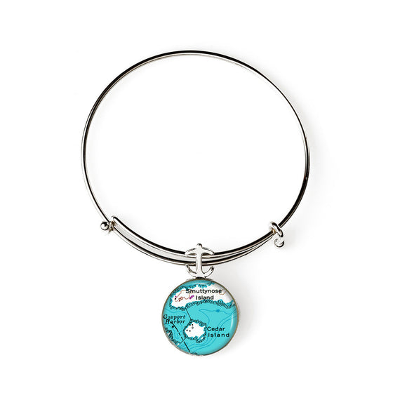Isle Of Shoals Smuttynose Cedar Island Expandable Bracelet with Anchor Charm