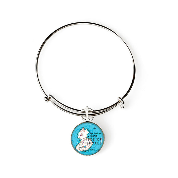 Isle of Shoals Appledore Island Expandable Bracelet with Anchor Charm