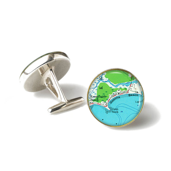 Kennebunk Beach Goochs Beach Anchor Cufflinks