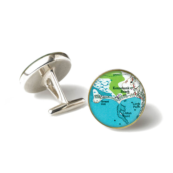 Kennebunk Beach Lords Point Anchor Cufflinks