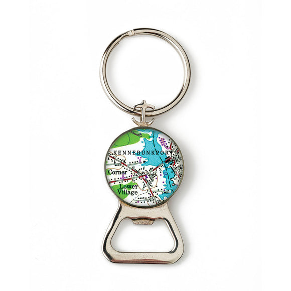 Kennebunkport Lower Village Combination Bottle Opener with Key Ring