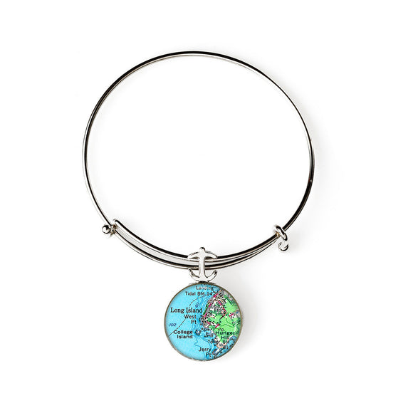 Long Island College Island Expandable Bracelet with Anchor Charm