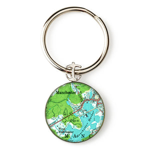 Manchester Harbor West Anchor Key Ring