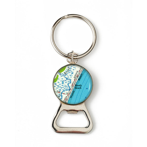 Moody Beach Combination Bottle Opener with Key Ring