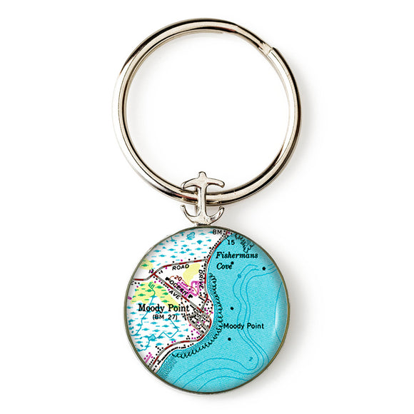 Moody Point Anchor Key Ring