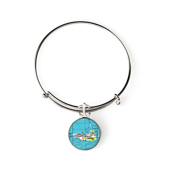 Nantucket Island Expandable Bracelet with Anchor Charm