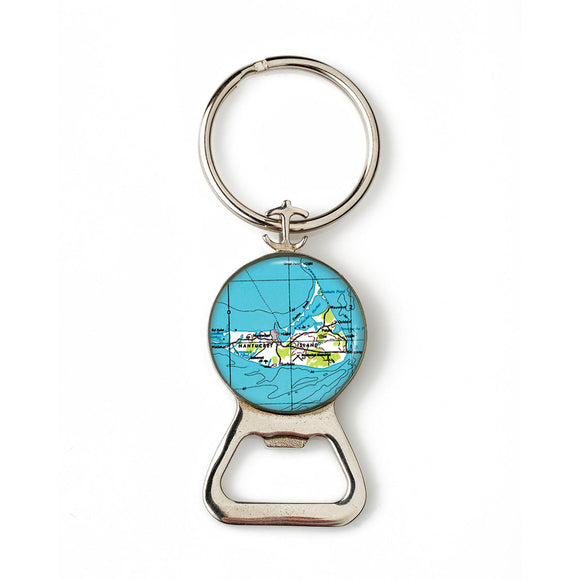 Nantucket Island Combination Bottle Opener with Key Ring