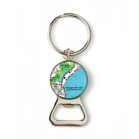 Narragansett Pier Combination Bottle Opener With Key Ring
