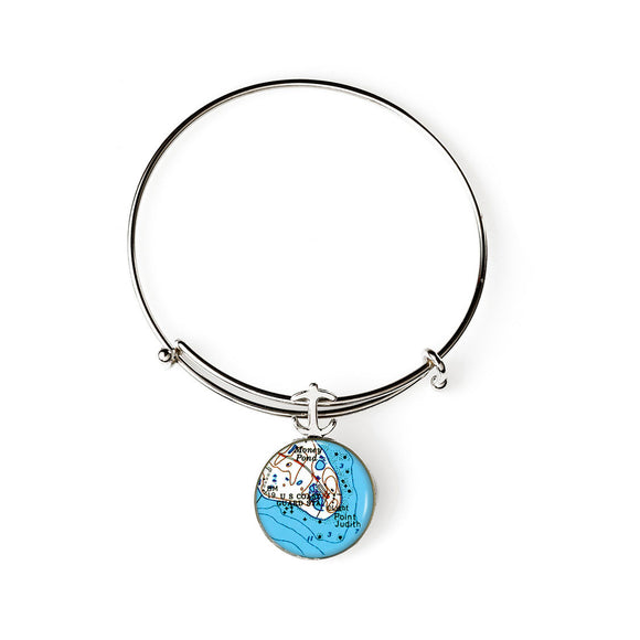 Narragansett Point Judith Expandable Bracelet with Anchor Charm