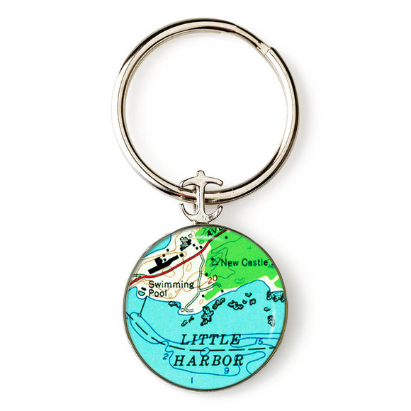 New Castle Little Harbor Anchor Key Ring