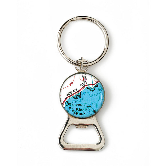 Newport Black Rock Combination Bottle Opener With Key Ring