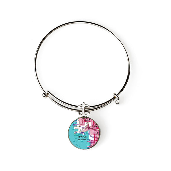 Newport Harbor Pink Expandable Bracelet with Anchor Charm