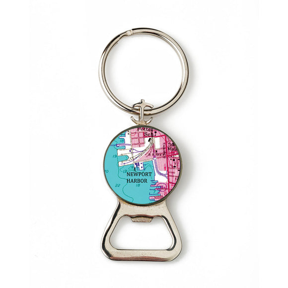 Newport Harbor Pink Combination Bottle Opener With Key Ring