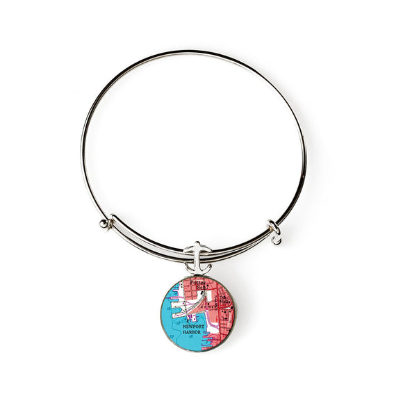 Newport Harbor Red Expandable Bracelet with Anchor Charm