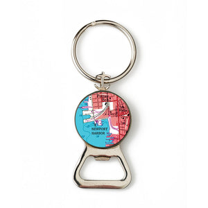 Newport Harbor Red Combination Bottle Opener With Key Ring