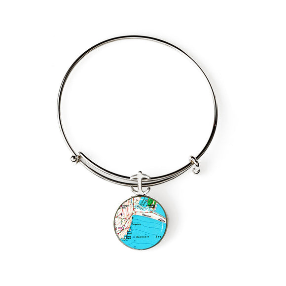 Newport Second Beach Expandable Bracelet with Anchor Charm