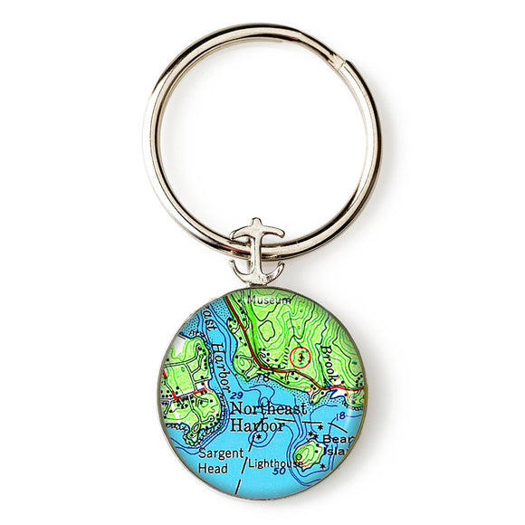 Northeast Harbor Anchor Key Ring