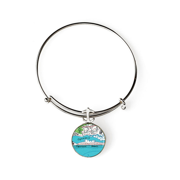Ogunquit Beach 1 Anchor Expandable Bracelet with Anchor Charm