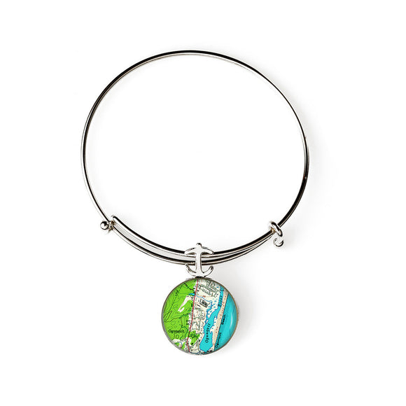 Ogunquit Beach 2 Anchor Expandable Bracelet with Anchor Charm