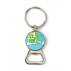 Osterville Harbor Beach Combination Bottle Opener with Key Ring