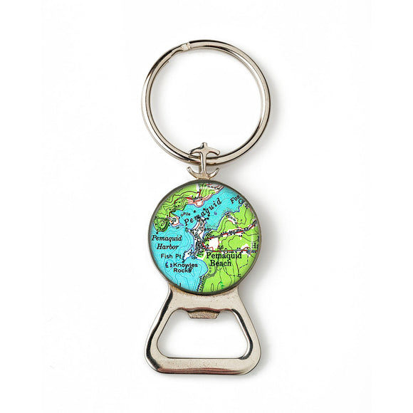 Pemaquid Beach Combination Bottle Opener with Key Ring