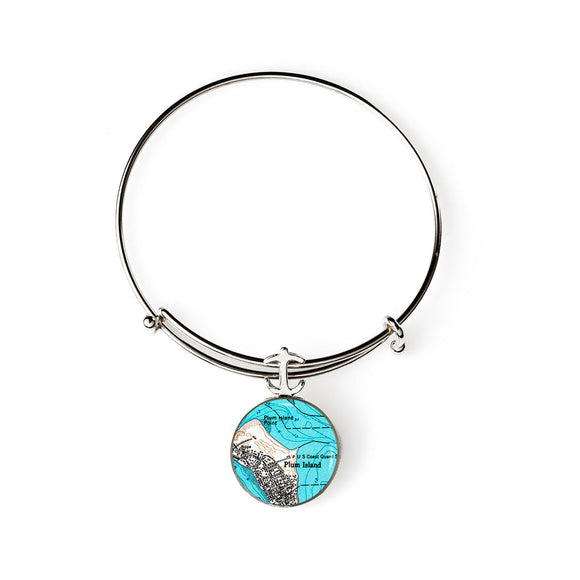 Plum Island Expandable Bracelet with Anchor Charm