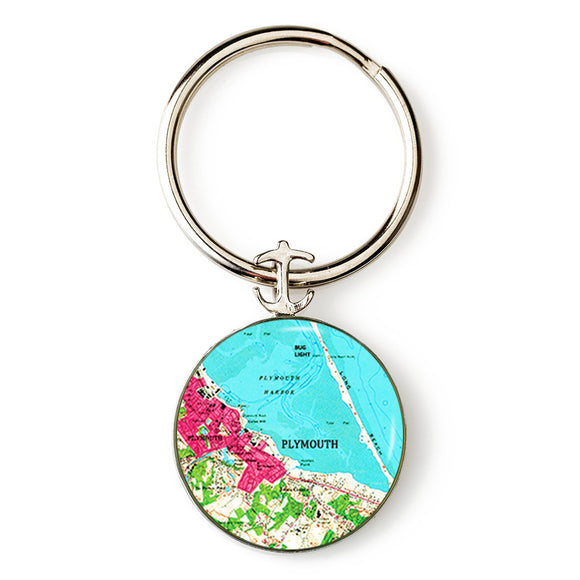 Plymouth Bug Light Pink Anchor Key Ring