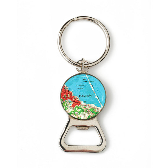 Plymouth Bug Light Red Combination Bottle Opener with Key Ring