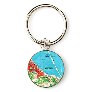 Plymouth Bug Light Red Anchor Key Ring