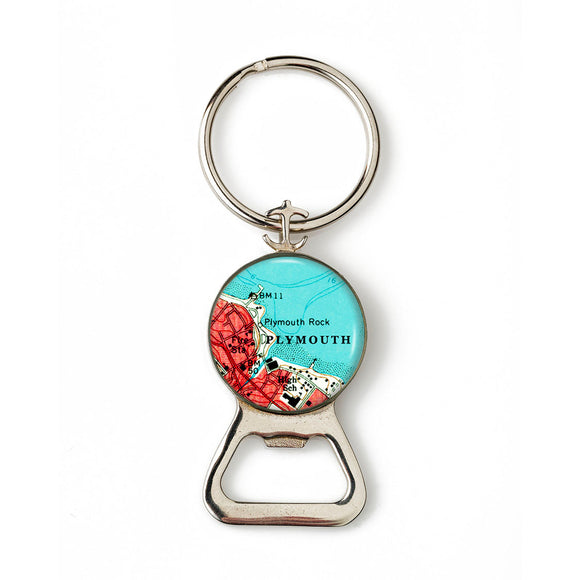 Plymouth Rock Combination Bottle Opener with Key Ring