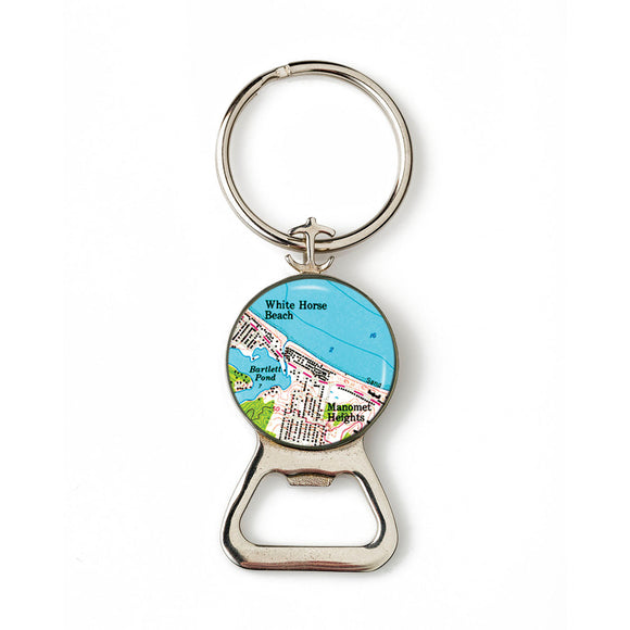 Plymouth White Horse Beach Combination Bottle Opener with Key Ring