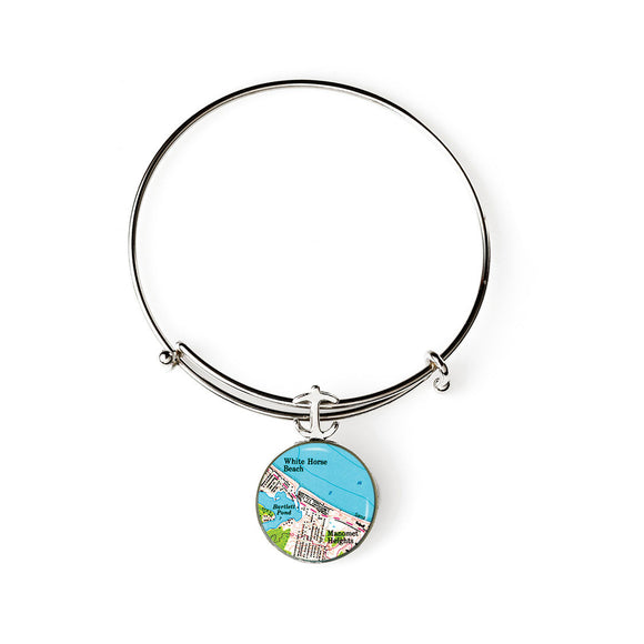 Plymouth White Horse Beach Expandable Bracelet with Anchor Charm