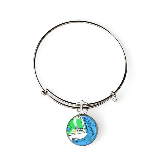 Popham Beach 2 Expandable Bracelet with Anchor Charm