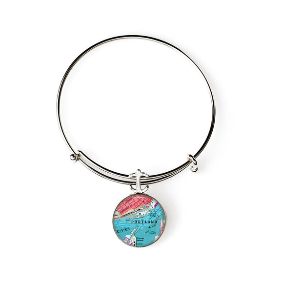 Portland Commercial Street Expandable Bracelet with Anchor Charm