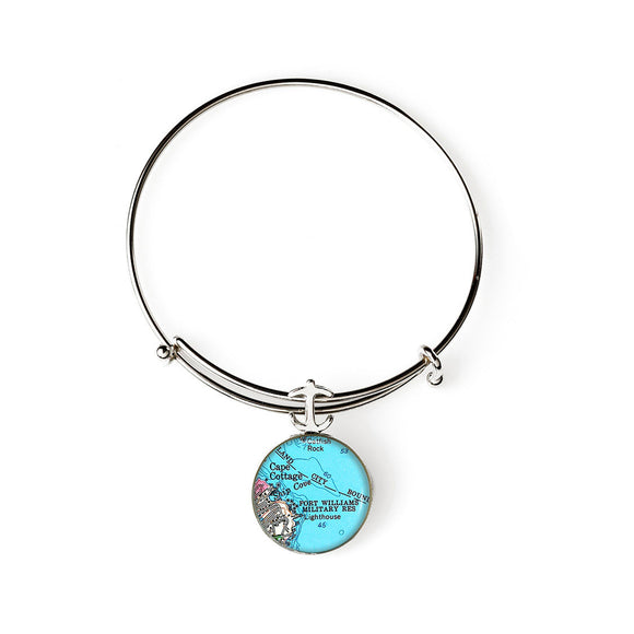 Portland Head Lighthouse Fort Williams Expandable Bracelet with Anchor Charm